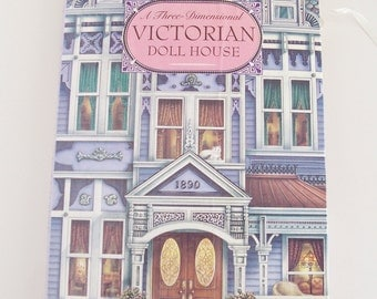 Vintage hardcover Victorian style doll house book - three-dimensional pop-up book - 1998 vintage children's house book - self-standing book