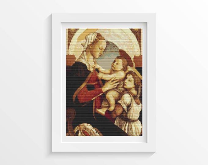 Cross Stitch Pattern PDF, Embroidery Chart, Art Cross Stitch, Madonna by Sandro Botticelli (BOTTI02)