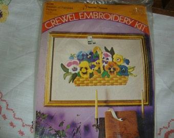 "Crewel Embroidery Kit Pauline Denham ""Basket of Pansies"" 14 x 20"