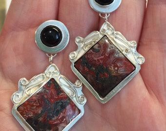Crazy Lace Agate Earrings with Black Onyx