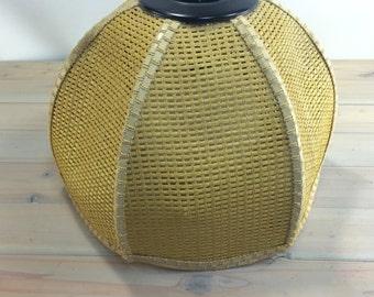 Vintage 1970s Globe Lamp Cane Wicker Shade,