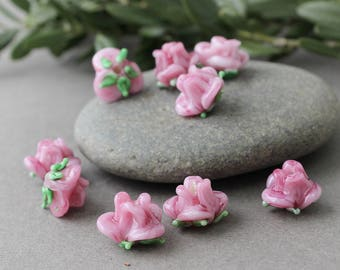 Pink Rose Glass Flower Beads, Set of 10Pc Lampwork Pink Flower Beads, Glass Flower Beads, Flower Beads, Lampwork Beads, Glass Beads
