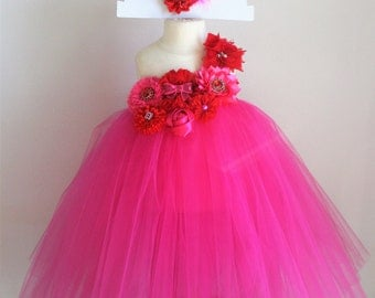 Red and Pink Valentines Day Tutu Dress - infant thru girls 10