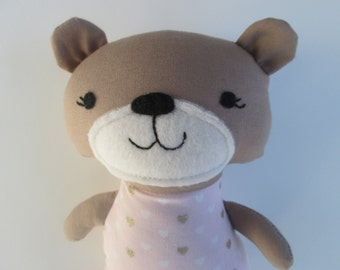 Baby Bear, Valentine's gift for toddlers or babies, pink and gold, Ready to Ship, bear softie, stuffed baby bear, baby gift, bear nursery,