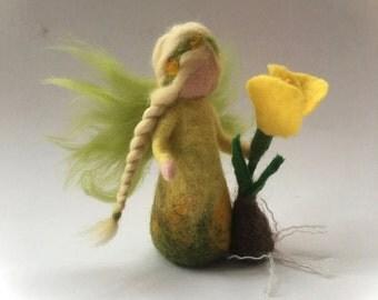 Crocus fairy.felted. Wet  felted. Waldorf.Flower child.