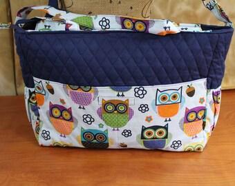 Owl diaper bag, quilted bag, travel bag