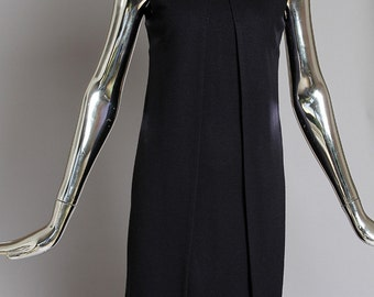 Gorgeous Vintage Costume National navy wool dress with floating panels