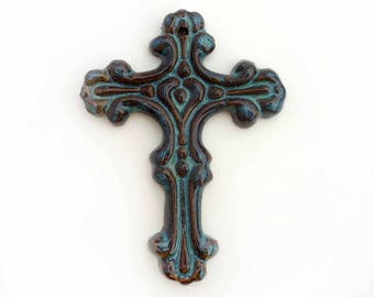 Small pottery cross, Brown and teal stoneware, Christian home decor, Ceramic wall hanging