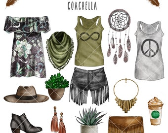 Watercolor Fashion Set - Coachella Theme