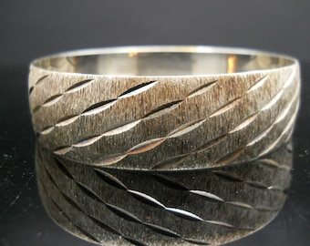 Wide Bangle Sterling Silver Diamond Cut Dirty Design Heavy 925 Bracelet