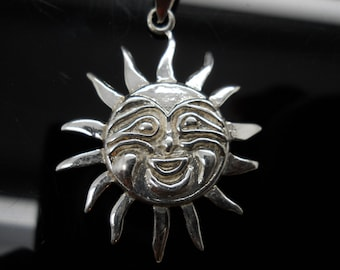 Sterling Silver Sun Face Pendant Thin 925 Jewelry No Chain Pendant Only