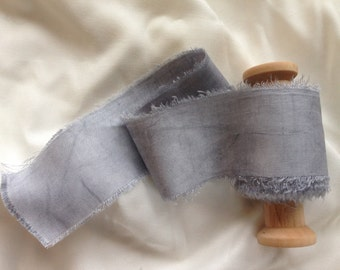 Light Cole.  Plant dyed silk, hand dyed silk ribbon, pale grey silk ribbon,