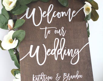 Wedding Welcome Sign | Wedding Signs | Wood Wedding Sign | Wooden Wedding Signs | Wood |  Rustic Wood Wedding Sign - WS-249