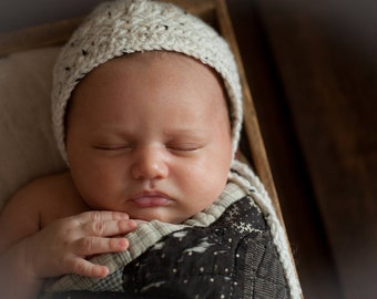 Newborn Hat, Criss Cross Newborn Hat, Tweed Newborn Bonnet, Neutral Newborn Bonnet, Oatmeal Newborn Hat, Great Newborn Photography Prop