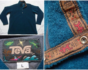 Vintage Retro Men's 90's Teva Fleece Snap Tee Dark Blue Green Gecko Buttonup Collar Pullover Jacket Large Made in USA