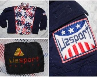 Vintage Retro Women's 90's Lizsport Jacket Blue Red Stars Flag Liz Claiborne Full Zip Athleisure Windbreaker Jacket Streetwear Petite Large
