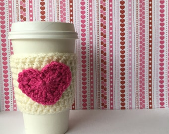1 for 10 Ivory Sleeve with Pink Heart Sweetheart Coffee Cozy Valentine Hearts Drink Cozy