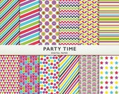 75% OFF SALE Digital Scrapbook Paper - Party Time -   Personal Commercial - Scrapbooking Instant Download G7780