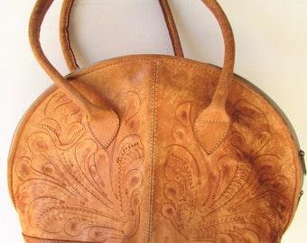 Vintage Hippie Boho Oversize Tooled Flower Leather Bag