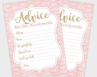 Printable Bridal Shower Advice Cards, Bridal Shower Game, Damask Blush Pink Gold Advice for Newlyweds, Wedding Advice Card Instant Download