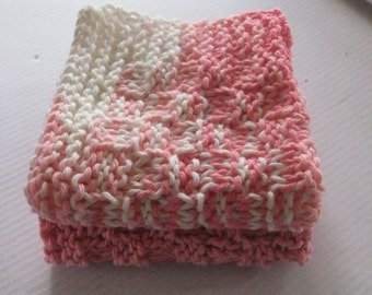 PINK DISHCLOTHS/Pink And Variegated Pink Dishcloths/Knitted Dishcloths/