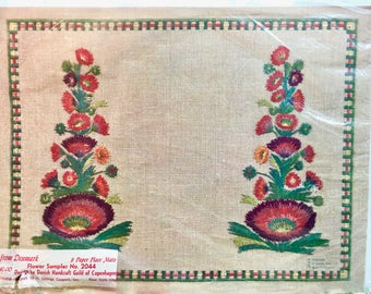 Vintage Paper Placemats in Package. Unused. Scandinavian Mid-Century. Faux Embroidery.