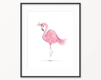 Funky Watercolour Flamingo Print