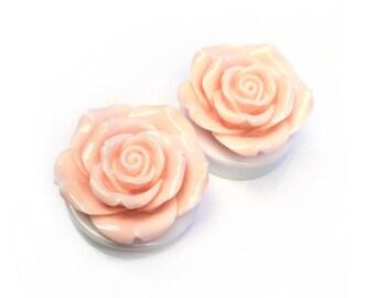 SALE 40mm Peach Rose Ear Plugs