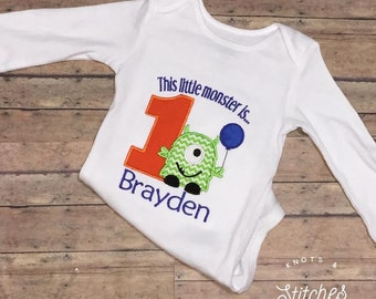 """Embroidered """"This Little Monster"""" First Birthday bodysuit/ shirt"""