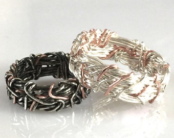 14K Rose Gold, Sterling silver, Yin Yang Wedding Bands, His and Hers Wedding rings, Unique Rings, Matching Wedding Bands, Couples Jewelry