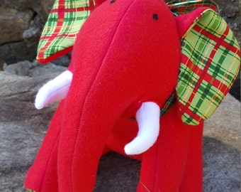 """HOLIDAY Red Plush Elephant - """"Jingle"""""""