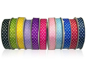 White Polka Dot Spot Grosgrain Ribbon W:15mm 1mtr - 22.5mtr