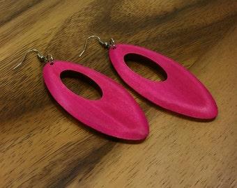 Pink Wood Earrings  - Dangle Earrings - Long Earrings - Pink Drop Earrings - Pink Wooden Earrings Pink Oval Earrings - Earrings Pink Ethnic
