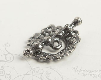 Silver Toggle Clasp - Handmade Toggle - Natural Clasp - Aged Toggle - Handmade Findings S3036(1). Holes, round, bubbles