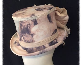 Angel Cherub Ladies Top Hat Wedding Top Hat Victorian Gothic Steampunk.