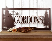 Family Name Custom Metal Sign | Outdoor Sign | Metal Wall Art | Custom Sign | Personalized Sign | Wedding Gift | Pine Trees