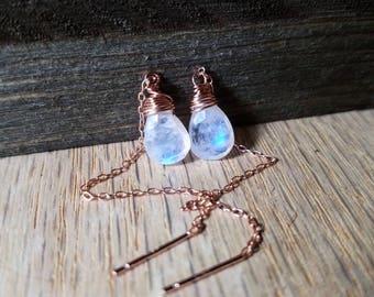 Rainbow moonstone earrings - Moonstone threaders - moonstone earrings - rainbow moonstone - threader earrings - ear threads - moonstone
