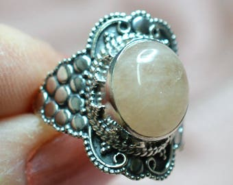 Morganite Sterling Silver Ring Size 7 Minus