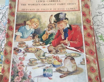 Alice in Wonderland Lewis Carroll Illustrated by Rene Cloke in Colour 1940's Vintage