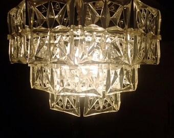 Kinkeldey style Art Deco Chandelier 3 tier clear vintage Acrylic plastic. Hollywood Regency, Home Decor, ceiling light fixture