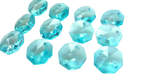 100 Light Aqua 14mm Octagon Chandelier Crystals Beads