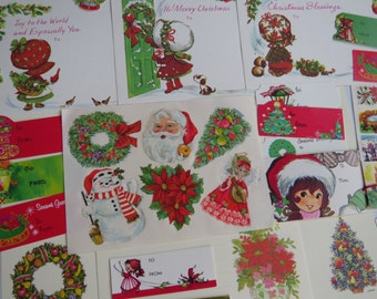70's Vintage Christmas 39pc Stationery & Gift Tags ~ Sweet Little Girls