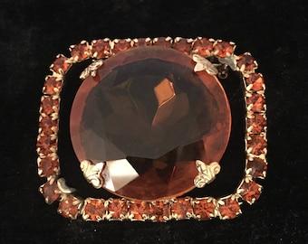 Vintage Amber Rhinestone Brooch,Retro Brooch,Large Rhinestone,Retro, Costume Jewelry,Gift For Her