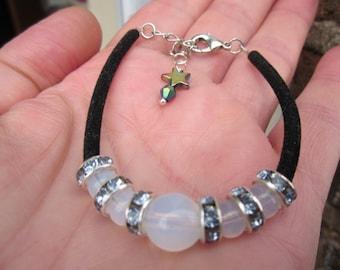 Gift for Her! OPALITE MOONSTONE bracelet w.crystal rondelle, black velvet & hematite rainbow STAR