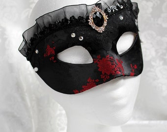 Black Satin Masquerade Mask, MADE TO ORDER Black and Red Rose Satin Brocade Masquerade Mask With Ruffle Trim