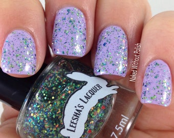 Blue and Green Glitter Nail Polish, Flakie Indie Nail Polish, Glitter Topper- Biboon - Ojibwe Fairytale Collectio