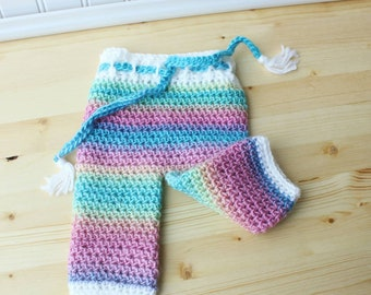 Newborn Pants - Crochet Baby Pants - Baby Shower Gift - Unicorn Baby Pants - Rainbow Baby Pants - Newborn Photo Prop - Ready To Ship