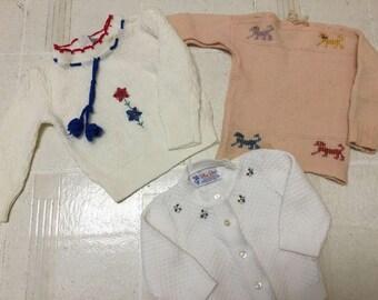 Vintage 1960's little girl knit sweater lot