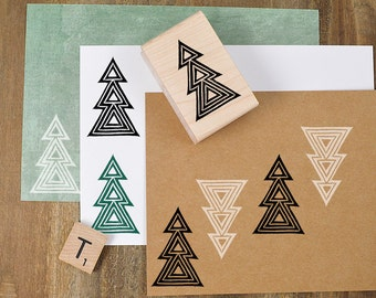 Geometric Tree Stamp, Christmas Tree Stamp, Winter Tree Rubber Stamp, Holiday Tree Stamp, Card Making, DIY Gift Wrap, Hand Carved Stamp 062