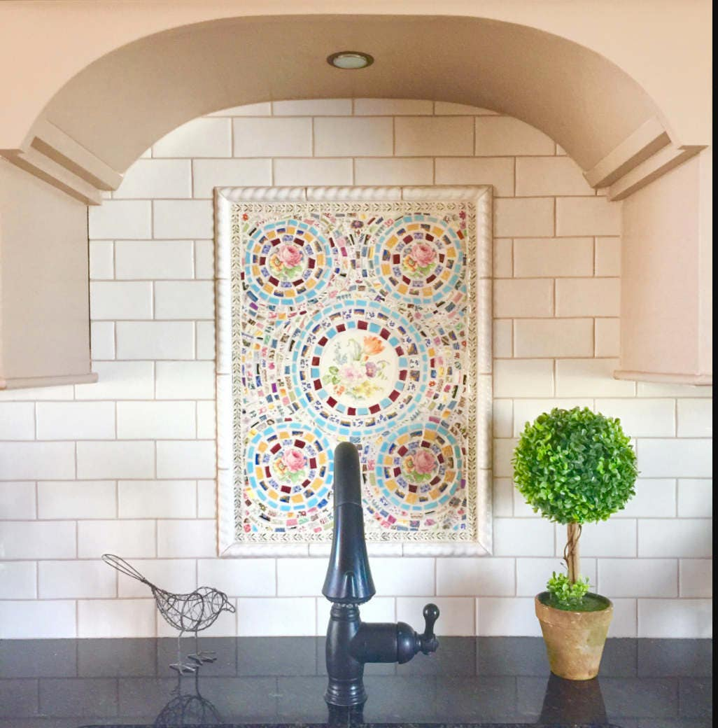 custom mosaic kitchen backsplash broken china vintage dish